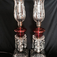 Antique Vintage Large Pair Crystal Mantle Boudoir Lamps Acid Etched 1930s