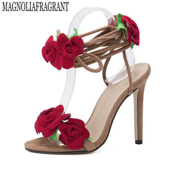 Fan Ming Star T-Taiwan show roses cross lacing women sandals high heels Lady Casual Lace-Up dress party shoes Wedding shoes s373