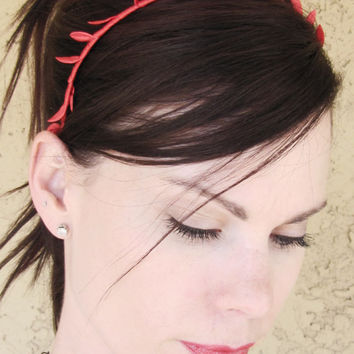 RED Satin Grecian Leaf Crown Headband