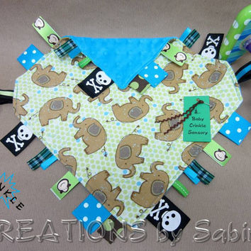 Baby Crinkle Tag Blanket with adjustable Velcro Loops, Sensory Toy for Baby Boy with Elephant Fabric READY TO SHIP 110