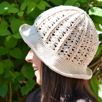 cloche sun hat, floppy beach hat, natural beige cotton sun hat, lace crochet hat, brimmed hat, crochet bucket hat