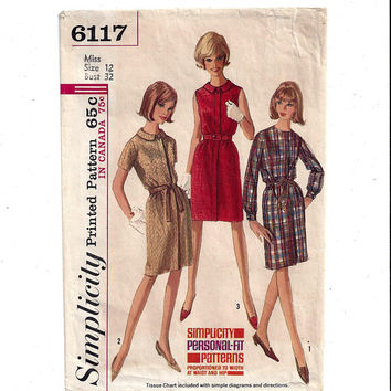 Simplicity 6117 Pattern for Misses' 1 Piece Dress with  Size 12, From 1965, Classy Shift Dress, Collar, Vintage Pattern, 1965 Fashion Sew