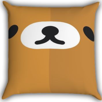 Rilakkuma face Zippered Pillows  Covers 16x16, 18x18, 20x20 Inches