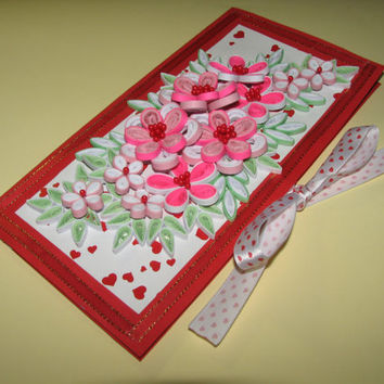 Quilling art Quilling Card 3d Greeting card Card Valentine's Day Handmade card Valentine's Day gift Card for her Flowers card