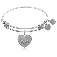 Expandable Bangle in White Tone Brass with Kappa Delta Symbol