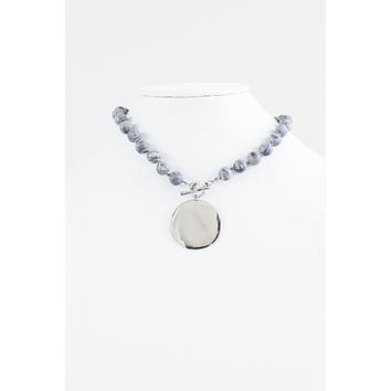 Metal Plate Marble Beads Necklace