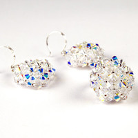 Lustrous Snow White - Bridal Wedding Earrings and Ring jewelry Set, White, Handwoven, Sterling Silver, Swarovski Crystal