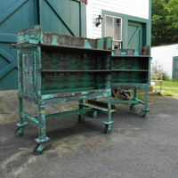Pair Refinished Vintage Industrial Shelves with by peterandgrove