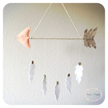 Baby Mobile - Nursery Wall Decor - Boho Nursery - Arrow and Feathers Baby Mobile - Tribal Baby Mobile - Peach and Gold Nursery Decor