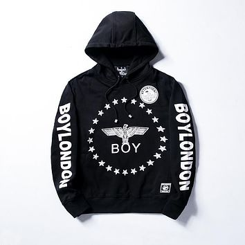 Men's Boy London Hoodie Fashion Hooded Sweatshirt Black White