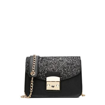 Glitter Flap PU Shoulder Bag With Chain Black