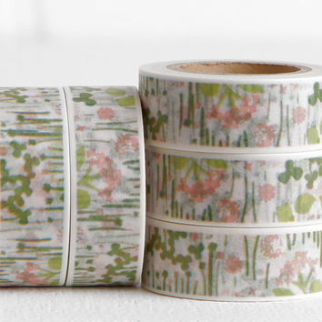 Meadow Flowers, Grasses, and Clover Washi Tape, Marsh Estuary Wetlands Pink Flowers Green Flora 15mm