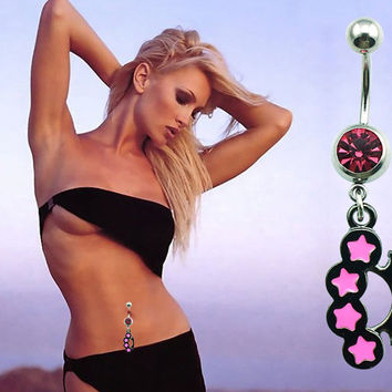 New Charming Dangle Crystal Navel Belly Ring Bling Barbell Button Ring Piercing Body Jewelry = 4804925508