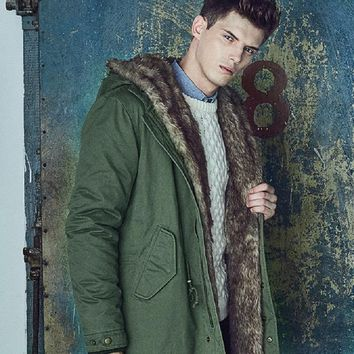 Winter Jacket Men 2017 New Arrival Parka Warm Thick Coats Fashion Fur Hood Detachable Collar Long Male Overcoat Military Style