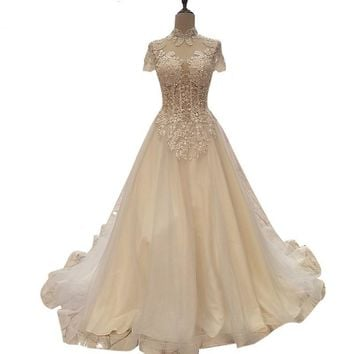 High Collar Tulle Evening Dress Embroidery Pearls Sexy Bridal Gowns