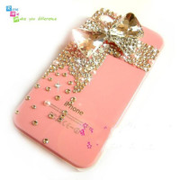 Free shipping iPhone 4 case, iPhone 4s case, case for iPhone 4 mobile case handmade: crystal bow i93512311 (custom are welcome)
