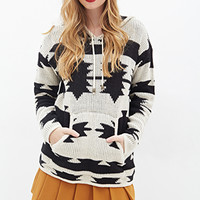 Hooded Southwestern-Inspired Sweater