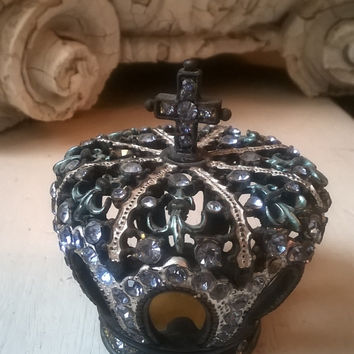 Vintage French Blue Rhinestone Crown, Heavy Patina Metal,  Trinket Box