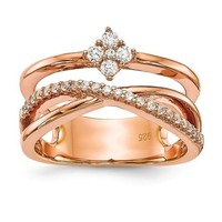 Sterling Silver Rose Gold Plated CZ Triple Band Ring