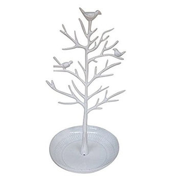 Ehdching Antique Birds Tree Stand Jewelry Display Necklace Earring Bracelet Organizer Holder (White)