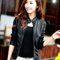 Black Chocker Neckline Zip Up Leather Jacket