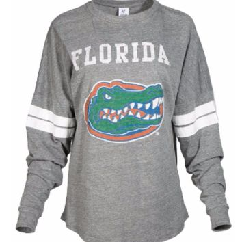 Official NCAA University of Florida Gators The Orange and Blue GATOR NATION! Women's Long Sleeve Tri- Blend Football T-Shirt