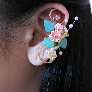 Pink Wrap Around Flowers And Bird Ear Cuff Woodland Gold Wings Free Elegant Feminine Bling Nature
