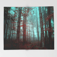 Throw Blanket - 'Enchanted' - Home, Decor, Modern, Warming Gift, Symmetry, Bohemian, Boho, Forest, Nature, Light, Turquoise, Trees