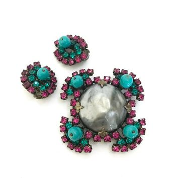 Czech Maltese Cross Demi Parure Brooch & Earring Set Fuchsia Turquoise Rhinestones Large Grey Fx Pearl Turquoise Glass Beads Gift for Her
