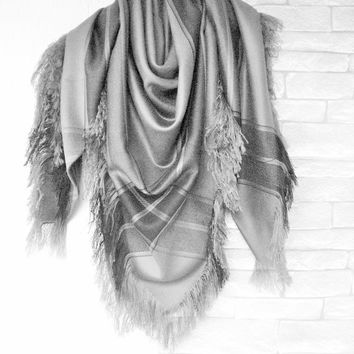 Gray Blanket Scarf , Women Scarf , Plaid Scarf , Plaid Blanket Scarf , Valentine's Gift Scarf Women fashion Winter Accessories
