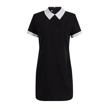 School Preppy Style White Collar Summer Mini Dresses Summer Cute Turn Down Collar Ladies Office Dresses