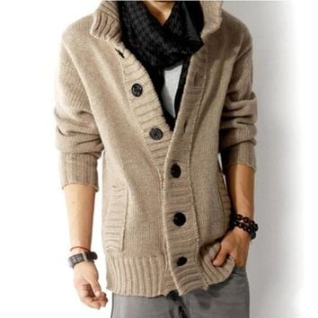 and winter fashion new men's casual thick warm sweater / Men's Cardigan Single Breasted Sweater Coat