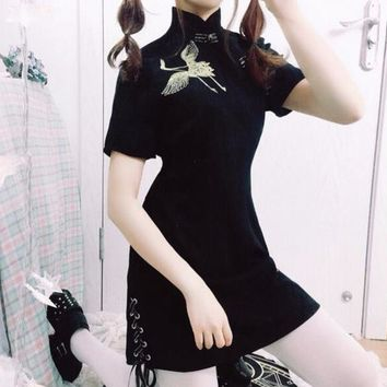 Chinese Style Darkness Lolita Vintage Punk Dress Golden Crane Embroidery Black Qipao Cheongsam