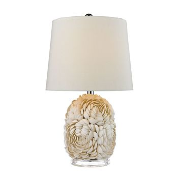 D2655 Natural Shell Table Lamp With Off White Linen Shade - Free Shipping!