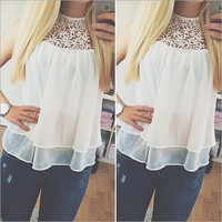 Feelingirl Summer Sexy Blusas Femininas White O-neck Flower Lace Chiffon Sleeveless Women Blouse Tank Top