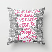 Wishing for Travel Throw Pillow by Pink Berry Patterns
