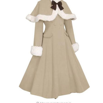 Elegant Custom Tailored Lolita Coat Women's Winter Long Wool Coat with Fur Cuffs and Cape Jacket