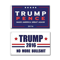 2 Pack -- Trump Pence 3x5 foot Donald Trump Flag for President 2016 MAKE AMERICA GREAT AGAIN (Blue+White)