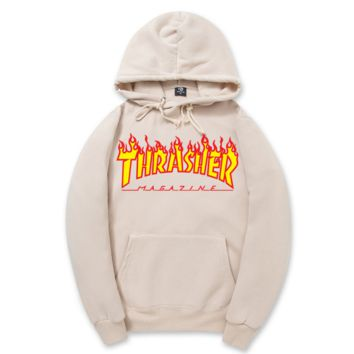 """Thrasher""New flame thickening hoodies sweater letters and line Apricot"