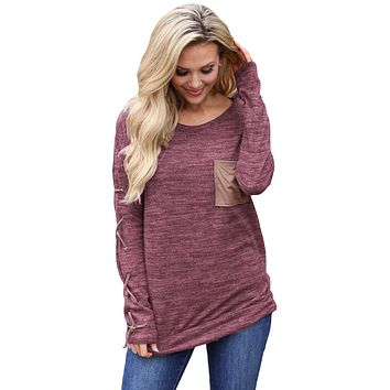 Wine Lace up Sleeve Front Pocket Women's Casual Top