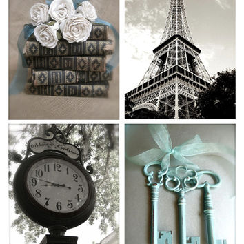 Romantic Photography Set, Paris, Eiffel Tower, Vintage Keys, Old Books, Roses, Black and White Photography, Aqua Blue