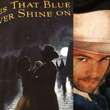 vintage 1990's Toby Keith concert country black Fan t shirt TEE Does that blue moon ever shine on you?