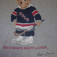 Hot Sales,Clearance stock Vintage Polo by Raplh Lauren Bear Hockey size L