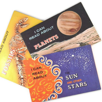 Three Vintage Books Bundle I Can Read About The Sun and Other Stars, I Can Read About Fossils,  I Can Read About Planets