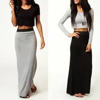 Women's Long Maxi Skirt Full Length High Waist Stretchy Dress [9145128070]