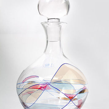 "Milano Hand Painted Hand Blown Whiskey Decanter 9 1/2"" high- Free Shipping"