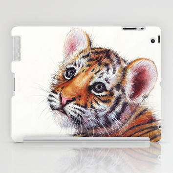 Tiger Cub Watercolor Painting iPad Case by Olechka