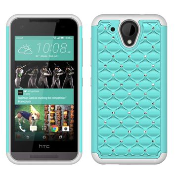 HTC Desire 520 Rhinestone Case , Slim Hybrid Dual Layer[Shock Resistant] Crystal Rhinestone Studded Case Cover - Baby Teal/White