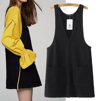 ESBU3C Freeshipping summer dress vestidos 2017 The European and American wind leisure pure color women's jeans pocket vest dress