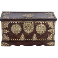 Antique Royal Brass Fitted Teak Wood Trunk Coffee Table